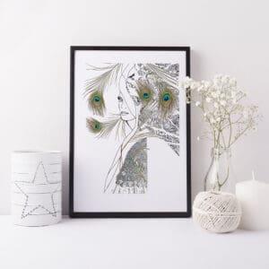 Peacock Woman Art Print